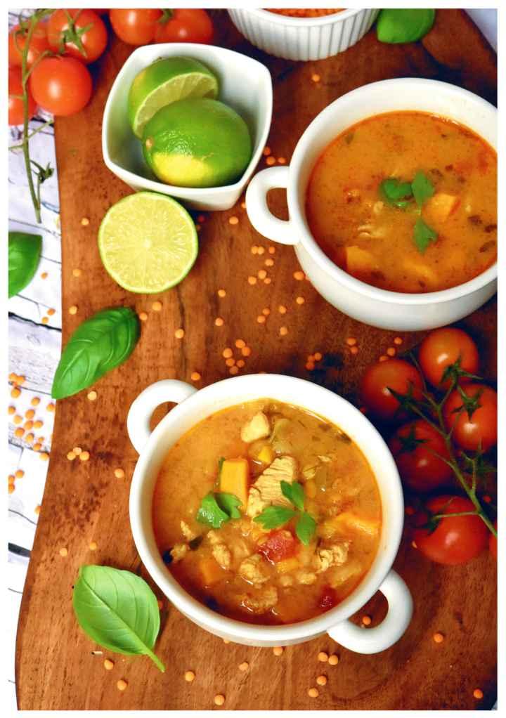 zupa z batatami kurczakiem i soczewica